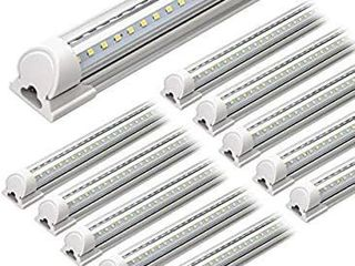 Barrina lED Shop light  4FT 40W 5000lM 5000K  Daylight White  V Shape  Clear Cover  Hight Output  linkable Shop lights  T8 lED Tube lights  lED Shop lights for Garage 4 Foot with Plug  Pack of 10