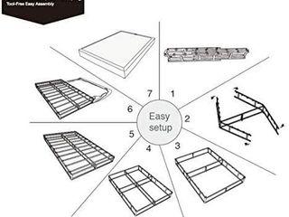 AmazonBasics Double Bed Mattress Base  Easy Tool Free Assembly  Metal  Black   Full