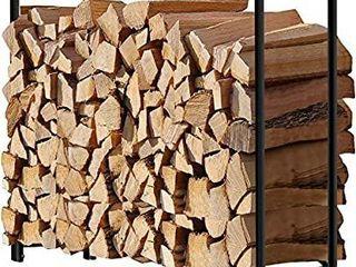 Amagabeli 4ft Outdoor Firewood  Heavy Duty  Patio Firewood Outdoor Vertical Storage Steel Tubular Firewood Stacking Racks  Black