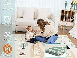 Baby Play Mat  Extra large Folding Play Mat  Thick Foam  Reversible  Waterproof  Portable  Baby Play Mat