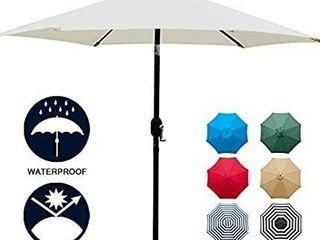 Sunnyglade 7 5  Patio Umbrella Outdoor Table Market Umbrella with Push Button Tilt Crank  6 Ribs  Beige