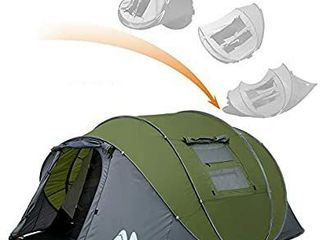 Ayamaya Collapsible 4 to 6 Person lobby Camping Tent Double layer Waterproof 3 Season large Family Tent Ventilated Mesh Windows Tent   USED