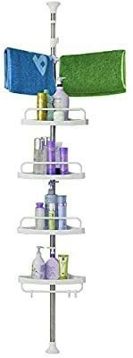 Shower Caddy 4 Tier Shower Corner Caddy Stainless Steel Pole Tower Organizer Basket Height Adjustable Among 4 5 to 10ft