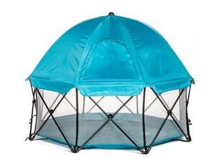 Regalo My PlayAr 8 Panel Foldable and Portable Play Yard with Carrying Case and Full UV Canopy  Teal