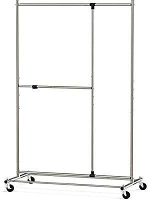 SimpleHouseware Dual Bar Adjustable Garment Rack  Chrome  72 inch Height