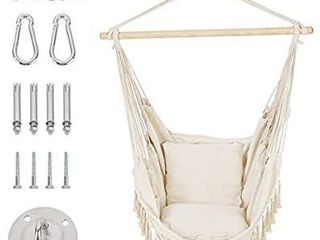 Patio Watcher Hammock Chair Hanging Rope Swing Seat with 2 Cushions and Hardware Kits  Perfect for Indoor  Outdoor  Home  Bedroom  Patio  Yardi1 4Deck  Garden