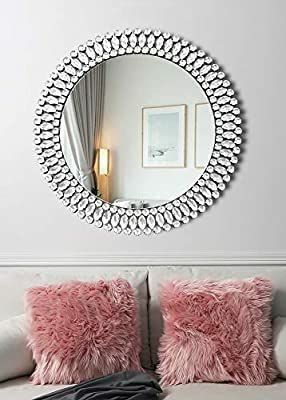 Elegant Circle Decor Wall Mirror   31 5  x 31 5  Crystal Decor Mirror for Bedroom Entrance living Room Dining Room Hallway