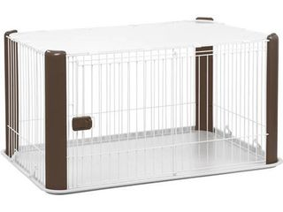 IRIS large Wire Dog Crate with Mesh Roof  Brown