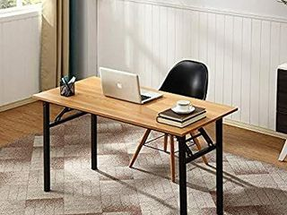 Folding Table Computer Desk  No Assembly Required  Sturdy and Heavy Duty Writing Desk for Small Spaces  Brown