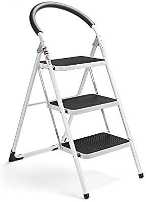 wohous 3 Step ladder Folding Step Stool ladder with Handgrip Anti Slip Sturdy and Wide Pedal Multi Use for Household and Office Portable Step Stool Steel 300lbs White and Black Combo  3 Step