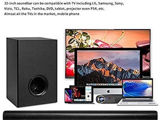 Sound Bar with Wireless Subwoofers  AKIXNO 2 1 CH 32inch Soundbar for Tv with Bluetooth 5 0  3 Equalizer Mode  Adjustable Treble Bass  Sound Bars Wall Mountable Home Theater   20Wx2 30W  Black  SR250G