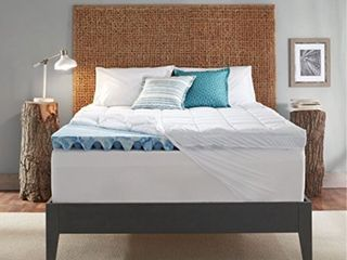 Sleep Innovations 4 inch Dual layer Gel Memory Foam Mattress Topper with Ultra Soft Support  Queen  10 Year Warranty