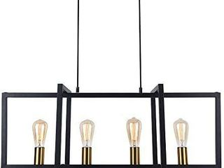 lingkai Modern Kitchen Island light 4 light Pendant Chandelier Ceiling light Industrial Hanging light Fixture Matte Black with Antique Brass Finish   BUlBS NOT INClUDED AND MISSING MOUNTING HARDWARE