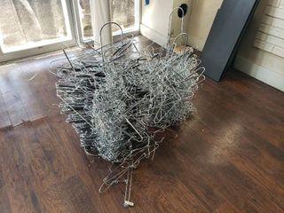 lot of metal hangers