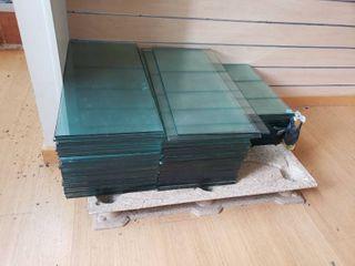 Pallet of glass shelving