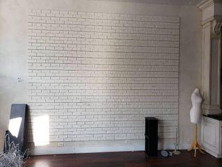 lot faux brick slat wall in room