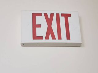 2  exit signs in room