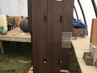 Set Of 4 Wooden Lockers Wood Look