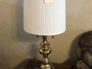 Brass table top lamp with white shade