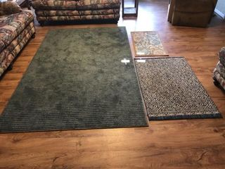 3   rugs  large blue rug 60IJx96IJ Blue and tan