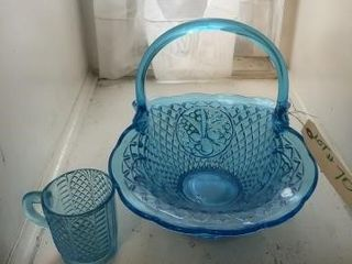 Matching blue glass basket and cup