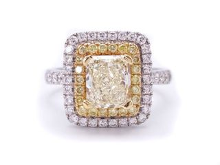 2.18 ctw Radiant VS2 Fancy Yellow Natural Diamond Double Halo Estate Ring in 18k White Gold; $18,940 Appraisal