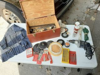 Drill with Accessories in Wooden Box