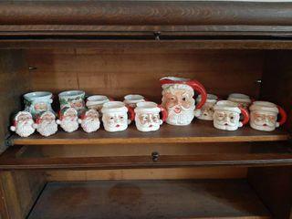 Santa Pitcher and Mugs