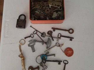 Motorcycle Tin with Old Keys and lock