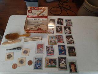Cigar Box with Baseball Cards and Vanity Items