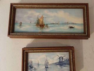 2 Framed Painted Tiles