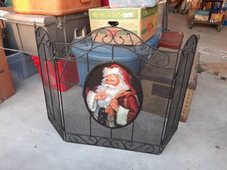 Fireplace Screen with Santa