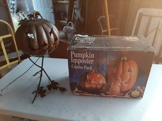 Halloween Decor   Metal Pumpkin is lighted