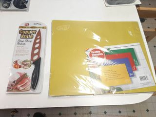 Copper Utility Knife and Set of 4 Flexible Chopping Mats