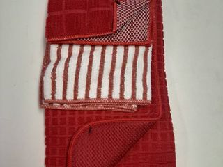 Household Trends 3 Piece Kitchen Set   Dish Drying Mat and Towel   Red