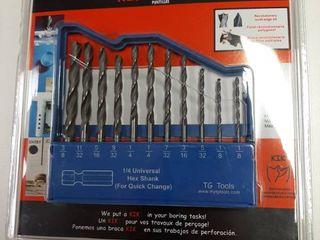 11 Piece Brad Point Drill Bit Set