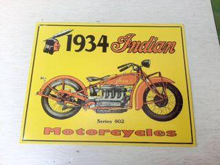 Metal Sign   Indian Motorcycles  1934 Series 402