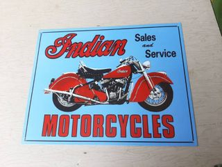 Indian Motorcycles Sales And Service Metal Sign