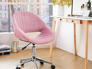 Pink Plush Velvet Desk Chair