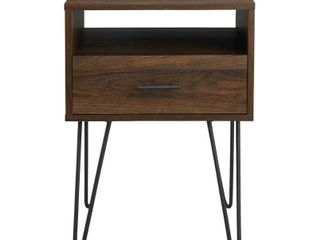 18  Modern Single Drawer Hairpin leg Side Table   Dark Walnut