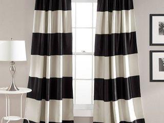 Montego Stripe Room Darkening Window Curtain Black Set 52  x 84