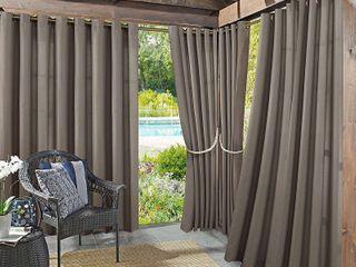 Sun Zero Reed Woven Indoor Outdoor UV Protectant Room Darkening Grommet Curtain Panel