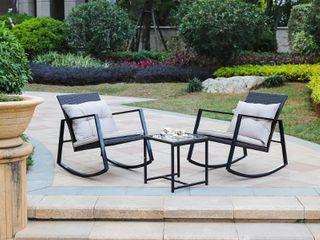 3 piece iron and wicker rocker conversation patio set