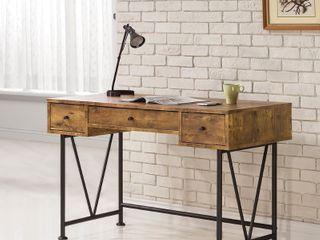 Carbon loft Jess Black Metal V base 3 drawer Desk  Brown   Retail 242 49