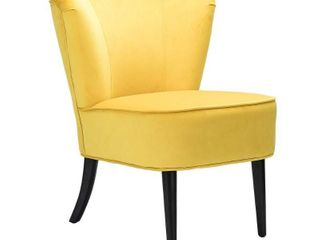 Emille velvet armless wingback chair in yellow