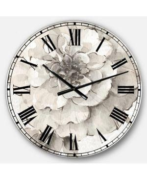 Designart  Indigold Grey Peonies I  Farmhouse large Wall Clock  Retail 128 99