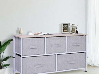 Porch   Den Dow Grey  White 5 drawer Storage Cube Dresser with Fabric Bins  Retail 79 48
