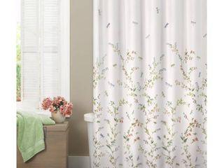 Maytex Dragonfly Garden Fabric Semi Sheer Shower Curtain