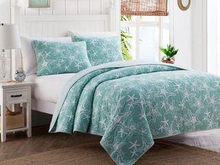 Starfish Blue Coastal Reversible Cotton Quilt Set Queen Size
