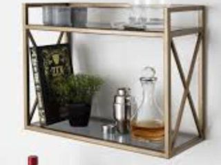 Kate and laurel Blex Metal and Glass Wall Shelf